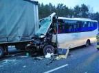 Wypadek na trasie S8. Zderzenie autokaru i dwóch ciężarówek